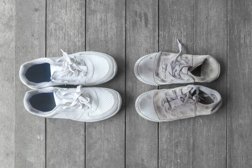 New athletic shoes and dirty older shoes comparison