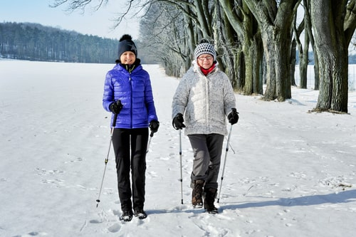 Women taking a long Nordic walk in the snow