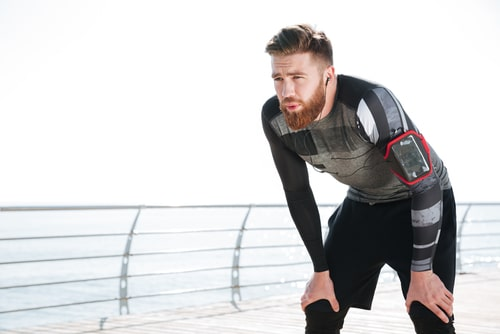 Man tired from fitness walking too much