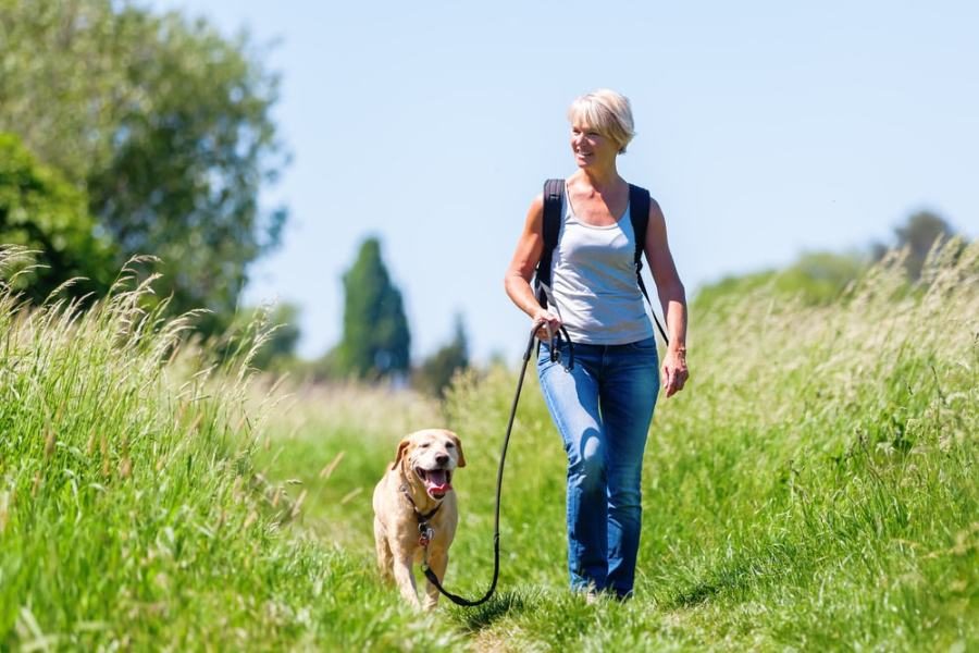 Woman walking dog on a grassy nature trail