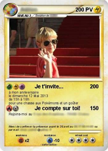 Votre carte d'invitation d'anniversaire pokemon originale