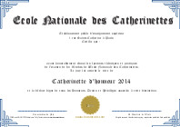 Diplôme de Catherinettes bleu