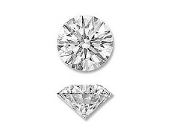 vue de haut et de profil d'un diamant rond