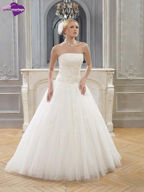 Robe de mariage à décolleté droit façon tutu