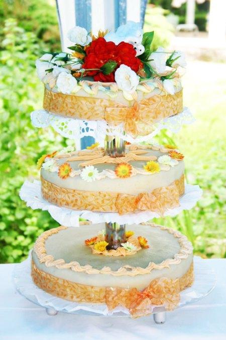 gateaux de mariage naked cake sur 3 étages
