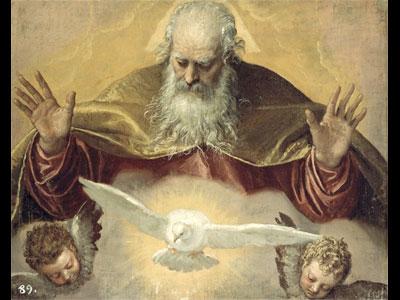 tableau de dieu le père et de la colombe de la paix