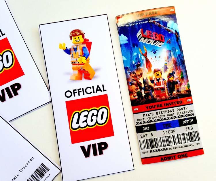 cartons d'invitation d'anniversaire Lego en forme de pass VIP