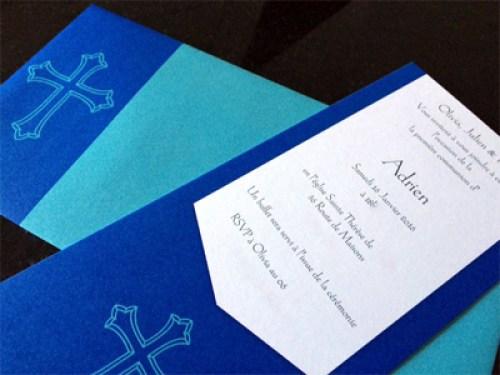 faire part de première communion bleu et vert