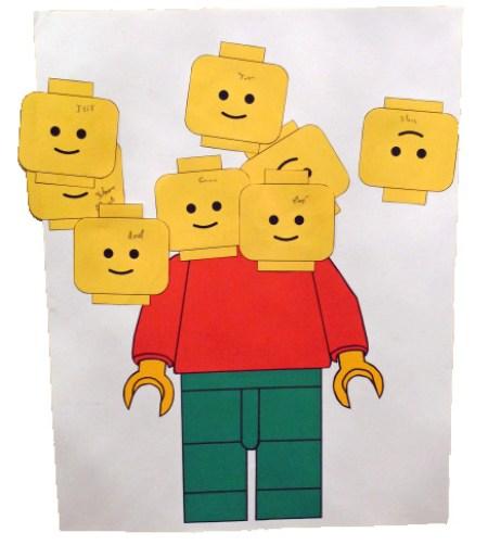 Activité d'anniversaire lego: jeu la tête du bonhomme lego