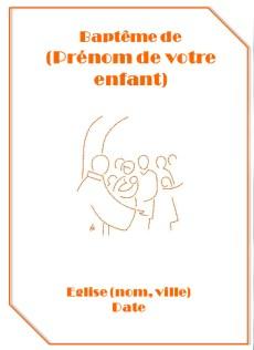 Couverture de livret de bapteme pour garçon orange représentant le dessin d'un baptême à l'église