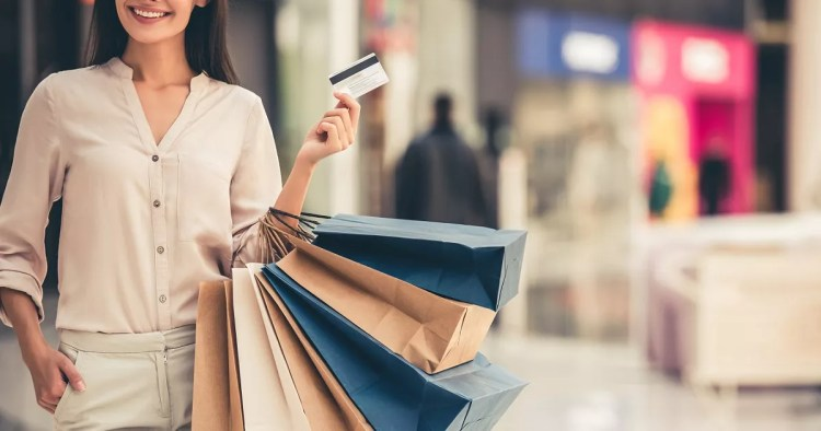 credit card girl shopping with pos terminal