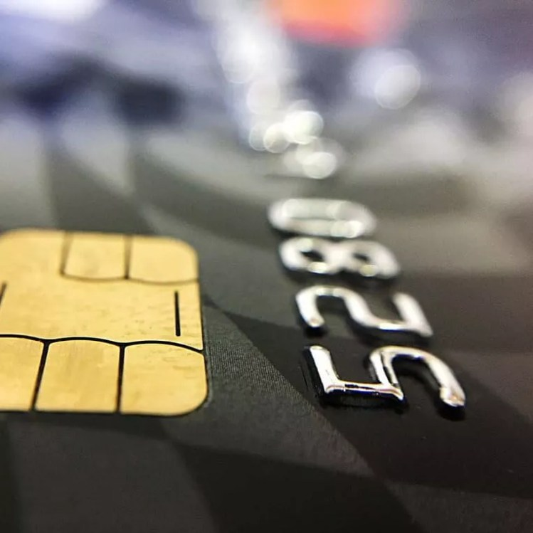 An image of the chip of a debit card