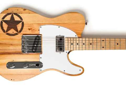 Jeep-branded Wallace guitar is hand-made with Packard Plant wood