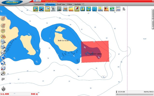Probable impact area Costa Concordia 2D (C-MAP by Jeppesen chart)