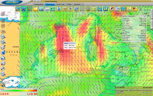MaxSea TimeZero weather forecast - wind