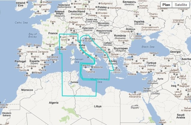 MaxSea TimeZero Raster Central Mediterranean Sea Chart