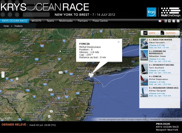 Race Viewer cartographic tool - 2012 Krys Ocean Race