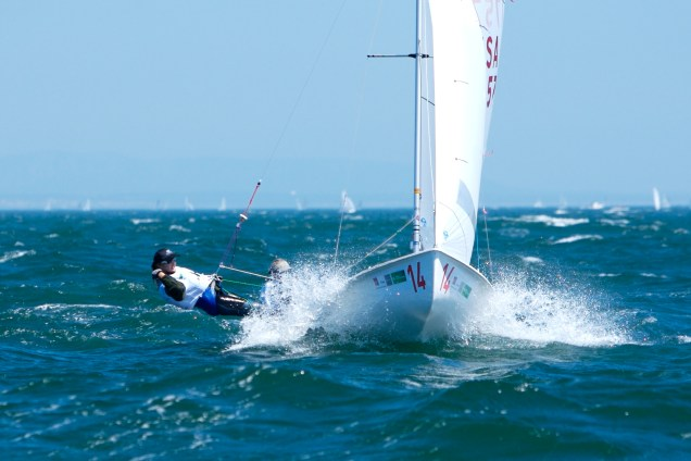 2008 470 World Champions Erin Maxwell and Isabelle Kinsolving sailing upwind.