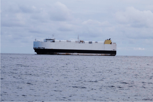 Cargoship in the shipping lane off the coast of Brest, France