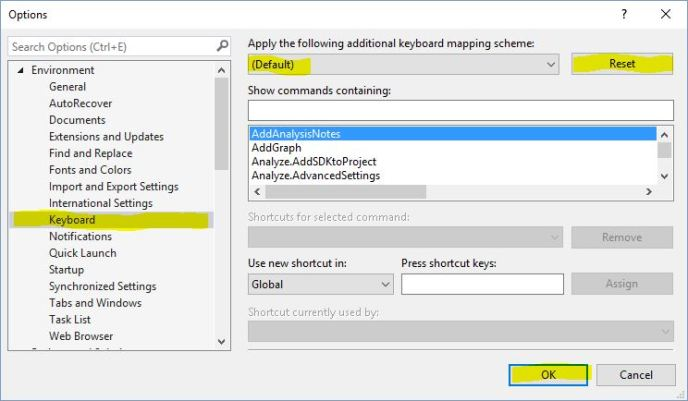 How to fix Visual Studio shortcuts when ReSharper doesn't