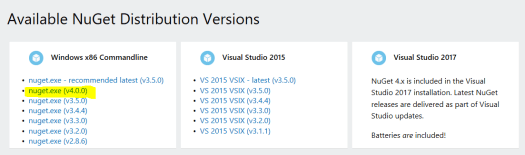 Versions of nuget.exe for download