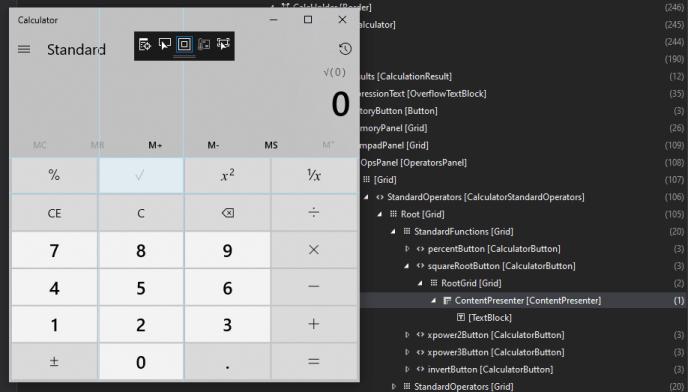Examining XAML live tree of Calculator