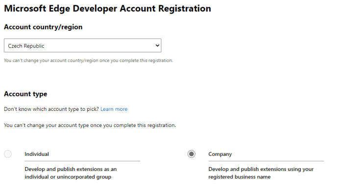 Microsoft Edge Developer Account Registration