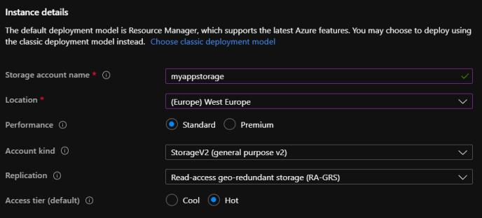 Example of Storage account setup