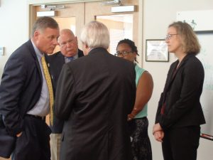 Senator Richard Burr speaking with Carl Taylor, Dr. Abby Vries and Pharmacy intern, Felicia Charles from Piedmont Health. Photo courtesy of Piedmont Health.