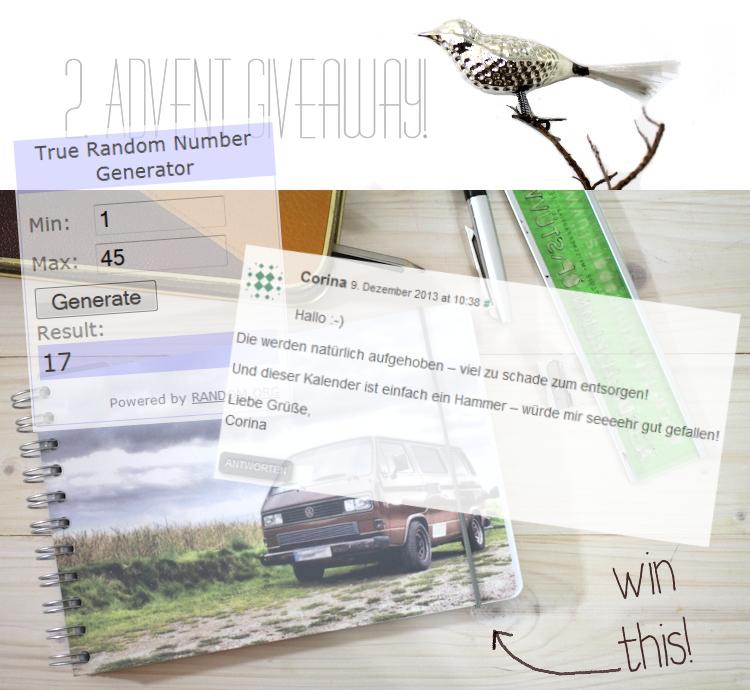 2. Advent Giveaway Gewinner - Persönlicher Kalender