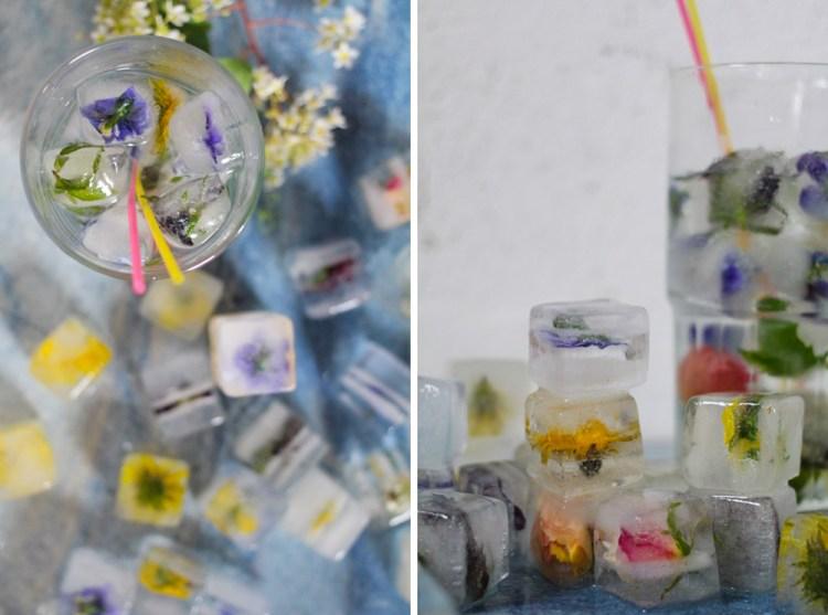 Eiswürfel mit essbaren Blüten
