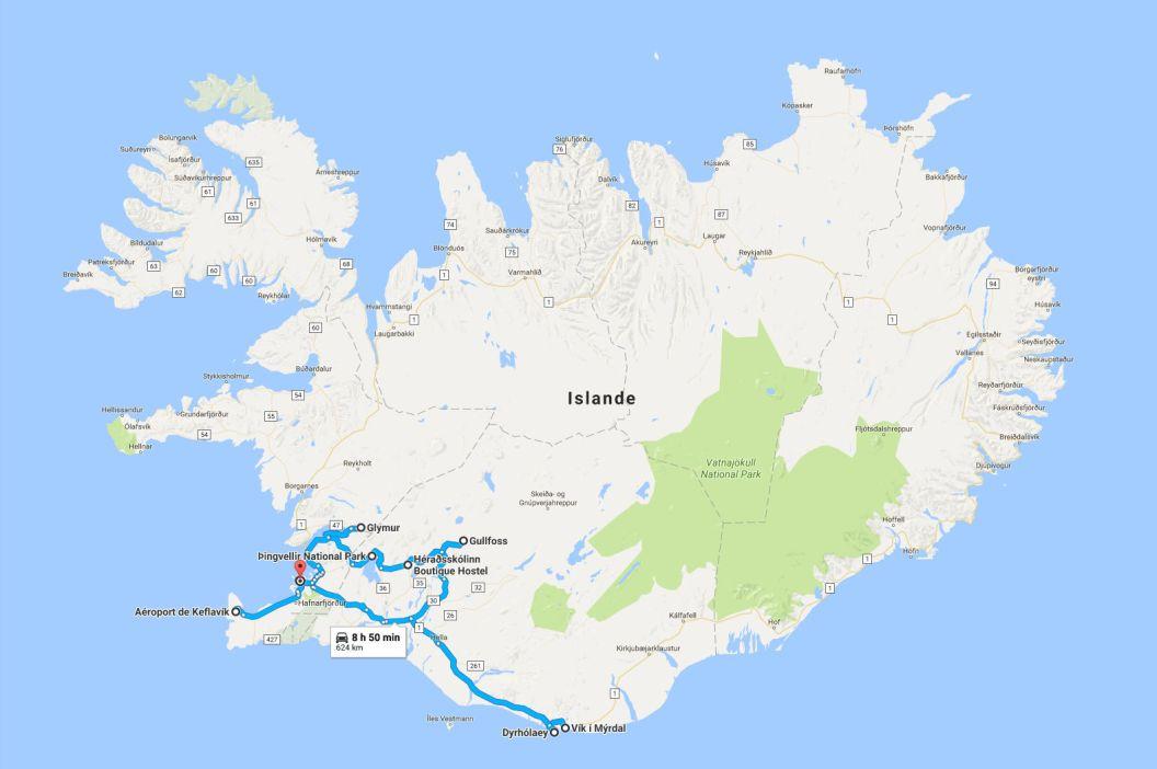 Islande 2016 - Trajets
