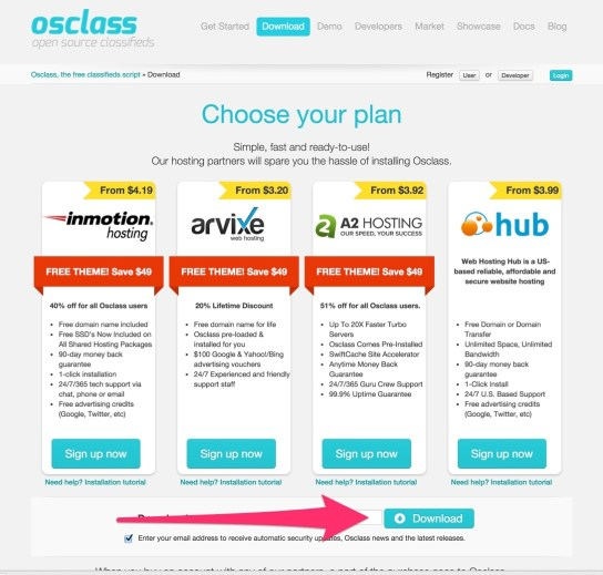 Download Osclass the free classifieds script