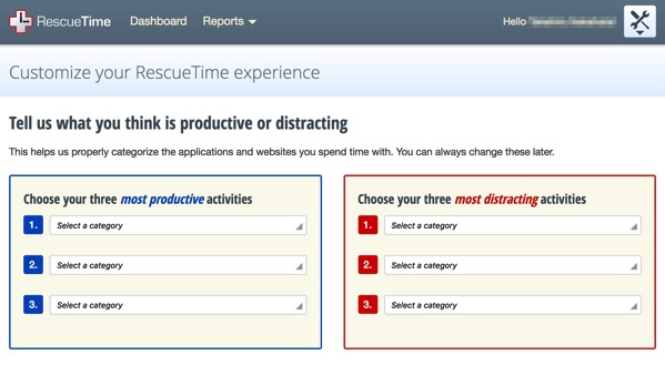 RescueTime Customize your RescueTime experience