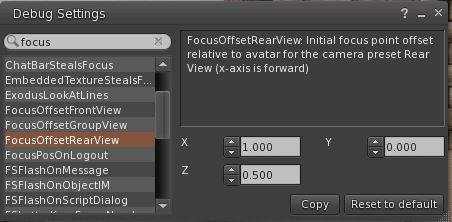 Debug Setting FocusOffsetRearView