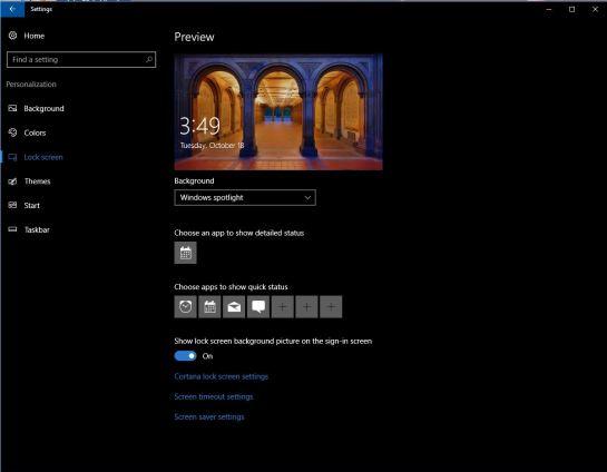 Lock Screen Settings - Win 10