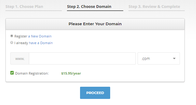 In this screen, you can choose a domain name for your website.