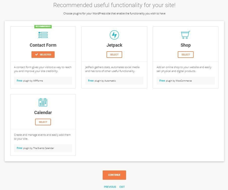 This is a screenshot of the functionality plugins you can install for your website.