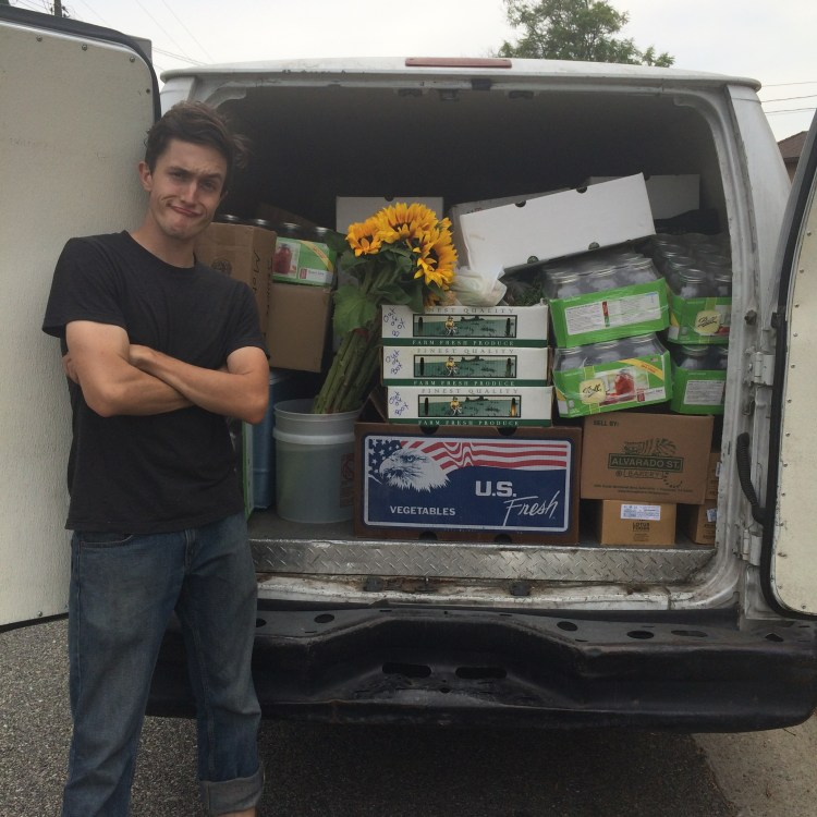 Cannonball, the trusty van, loaded to the brim with local goodness thanks to Landon's Tetris skills.