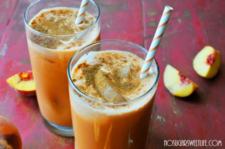 Recipe and photo by Kelly for Nosh and Nourish.  This is a sweet potato based, peach pie tasting, vitamin rich juice.