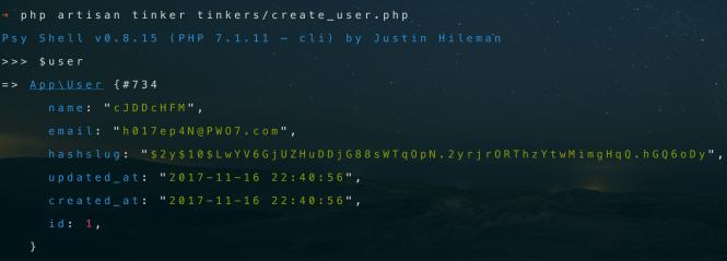 Create user via tinker