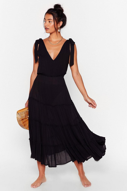 Midi black beach dress