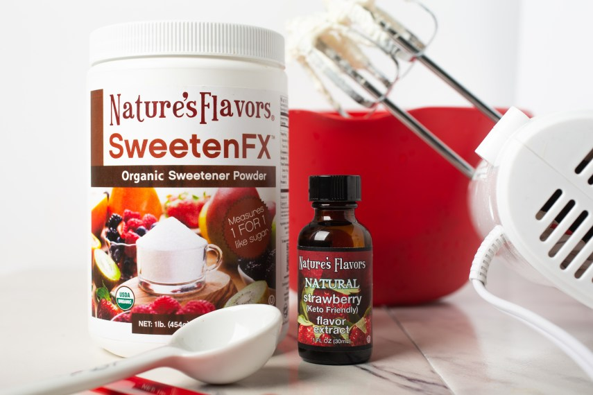nature's flavors sweetenfx and natural strawberry flavor extract
