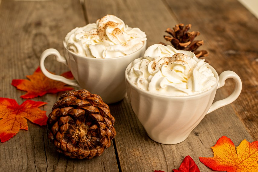 two mugs alongside two acorns.