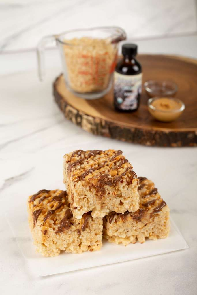 rice krispie treats on parchment paper