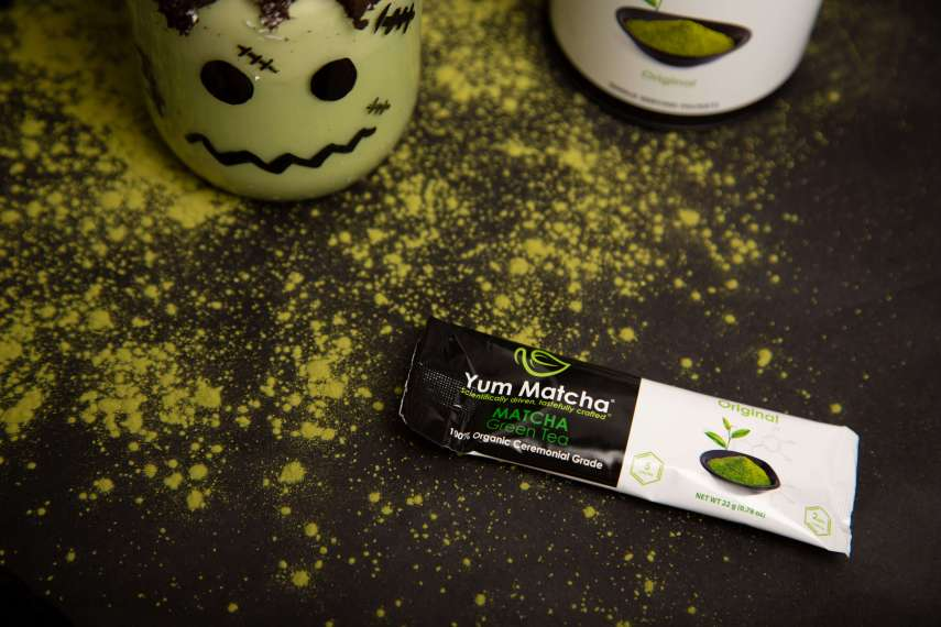 matcha packet used to make Frankenstein Matcha Milkshake
