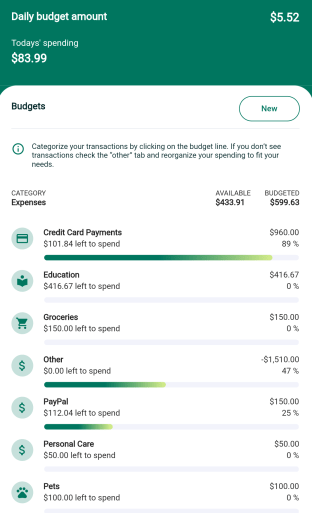 The nav.it money app automates your budgeting and has customizable categories.