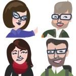 Four cartoons of the Tech-Savvy Teachers