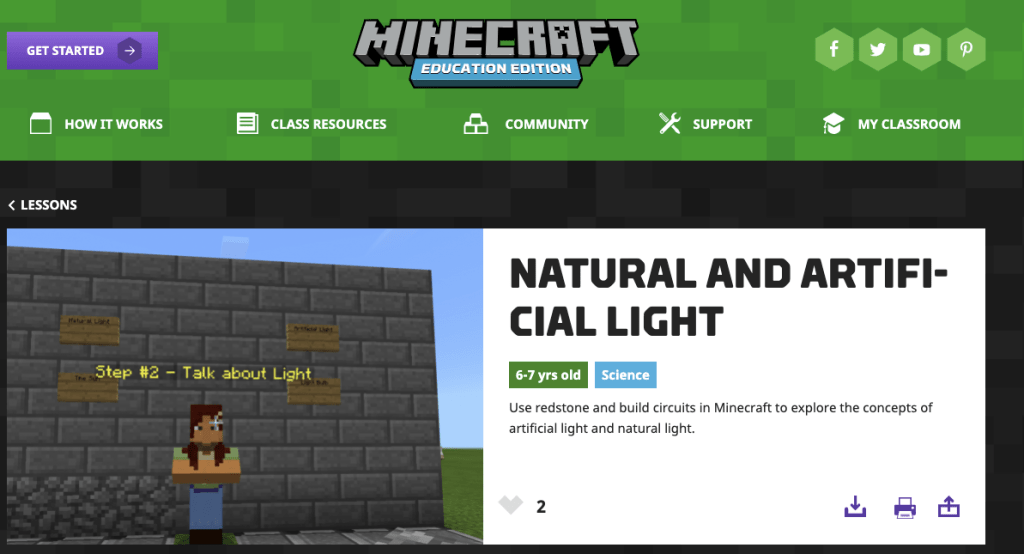 Teaching the Science of Light with Minecraft Education Edition