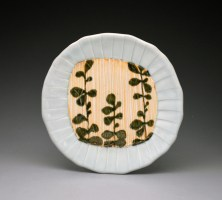 "Jennifer Allen Small Celadon Plate with Shino Stripes, 2014, porcelain, cone 10 reduction, 1"" x 7.5"" x 7.5"